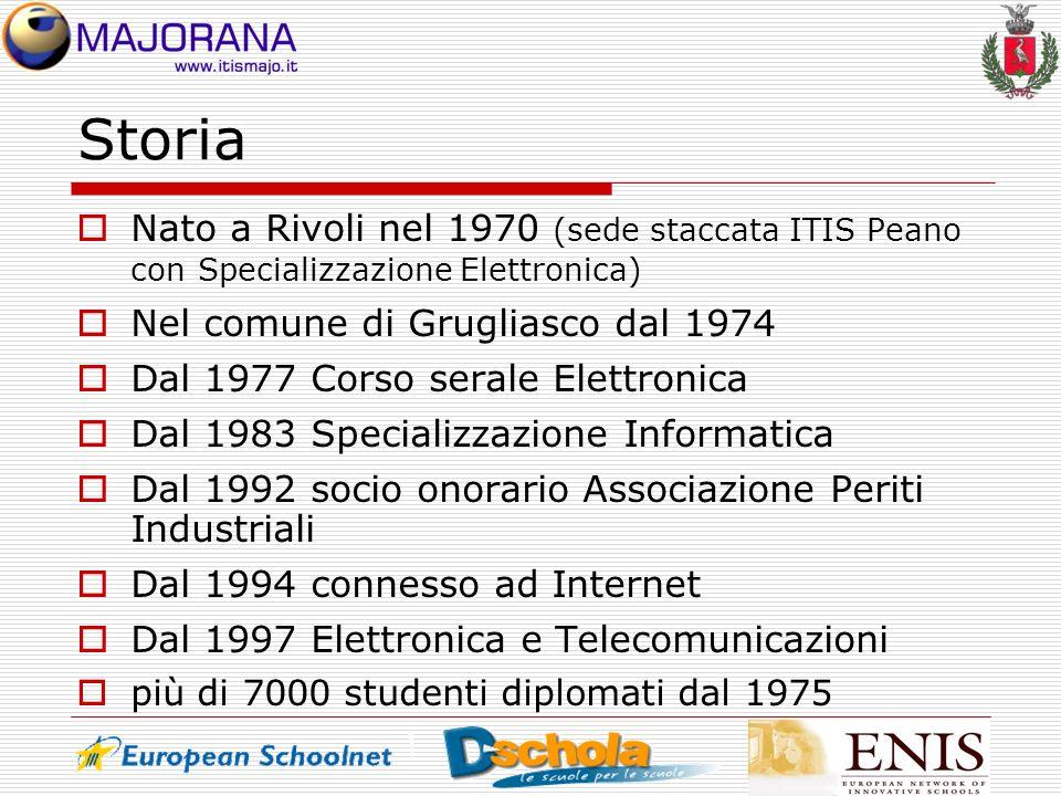 Storia Nato a Rivoli nel 1970 (sede staccata ITIS Peano con Specializzazione Elettronica) Nel comune di Grugliasco dal 1974 Dal 1977 Corso serale Elet