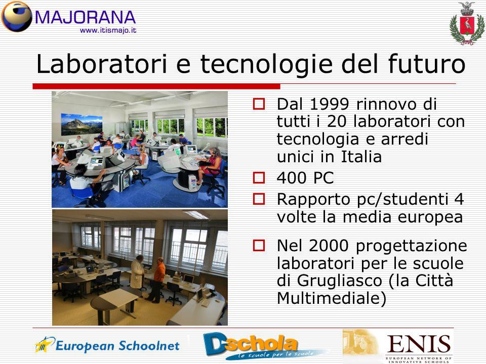 Laboratori e tecnologie del futuro Dal 1999 rinnovo di tutti i 20 laboratori con tecnologia e arredi unici in Italia 400 PC Rapporto pc/studenti 4 vol
