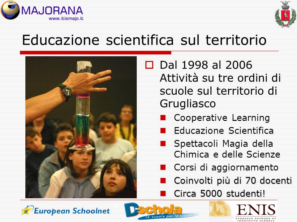 Educazione scientifica sul territorio Dal 1998 al 2006 Attività su tre ordini di scuole sul territorio di Grugliasco Cooperative Learning Educazione S