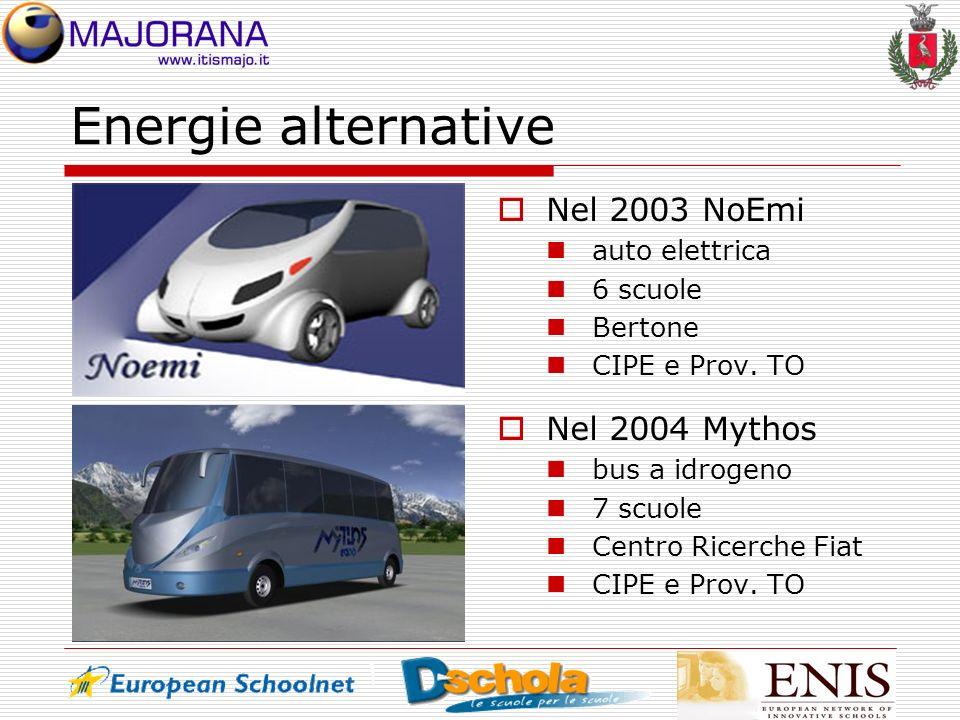 Energie alternative Nel 2003 NoEmi auto elettrica 6 scuole Bertone CIPE e Prov. TO Nel 2004 Mythos bus a idrogeno 7 scuole Centro Ricerche Fiat CIPE e
