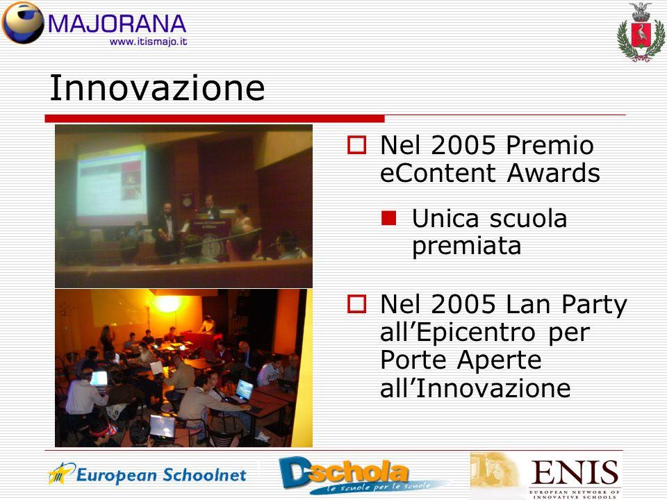 Innovazione Nel 2005 Premio eContent Awards Unica scuola premiata Nel 2005 Lan Party allEpicentro per Porte Aperte allInnovazione