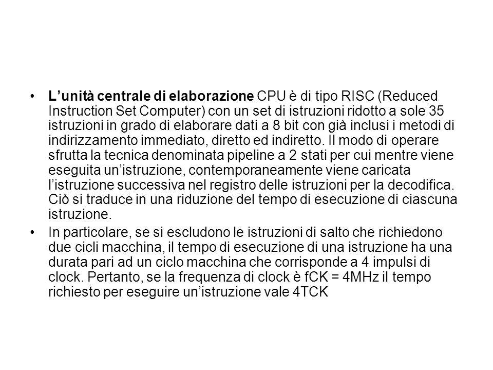 Lunità centrale di elaborazione CPU è di tipo RISC (Reduced Instruction Set Computer) con un set di istruzioni ridotto a sole 35 istruzioni in grado d