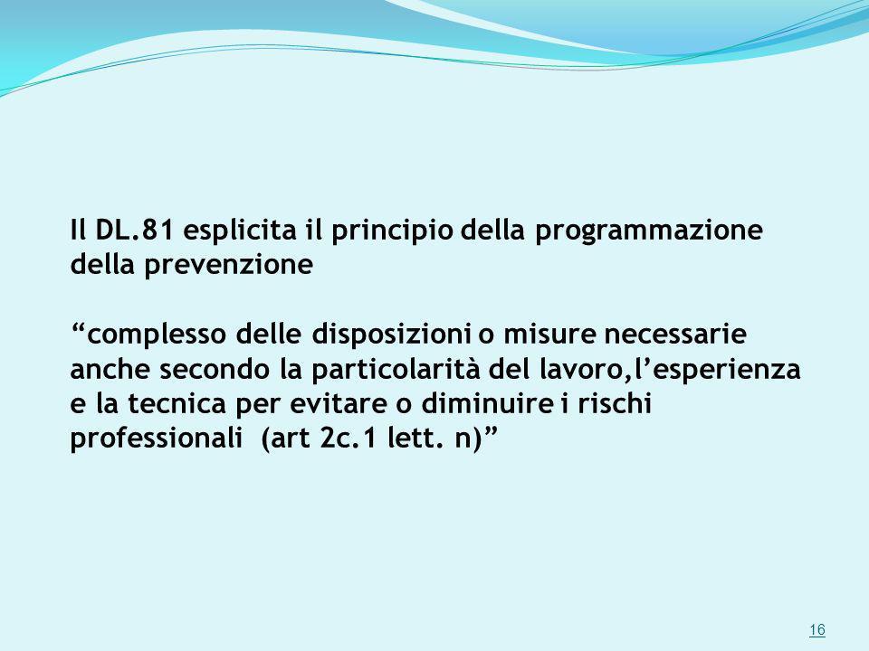 Il DL.81 esplicita il principio della programmazione della prevenzione complesso delle disposizioni o misure necessarie anche secondo la particolarità