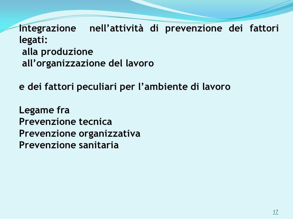 Integrazione nellattività di prevenzione dei fattori legati: alla produzione allorganizzazione del lavoro e dei fattori peculiari per lambiente di lav
