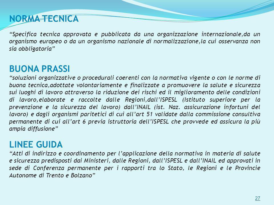 NORMA TECNICA Specifica tecnica approvata e pubblicata da una organizzazione internazionale,da un organismo europeo o da un organismo nazionale di nor