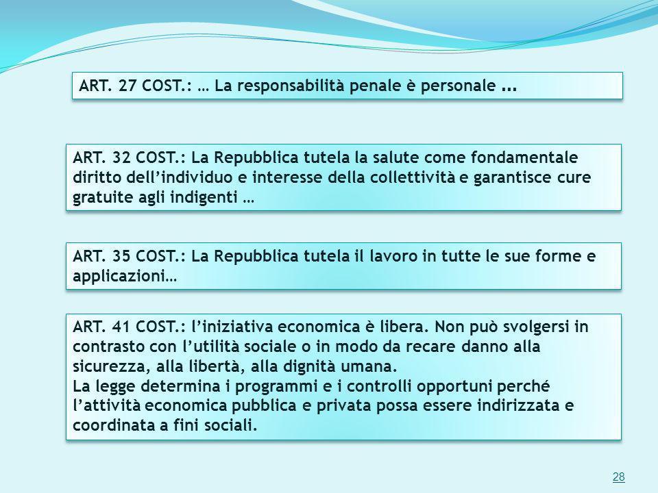 ART. 32 COST.: La Repubblica tutela la salute come fondamentale diritto dellindividuo e interesse della collettività e garantisce cure gratuite agli i