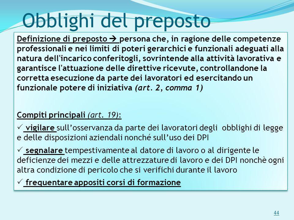 Obblighi del preposto 44 Definizione di preposto persona che, in ragione delle competenze professionali e nei limiti di poteri gerarchici e funzionali