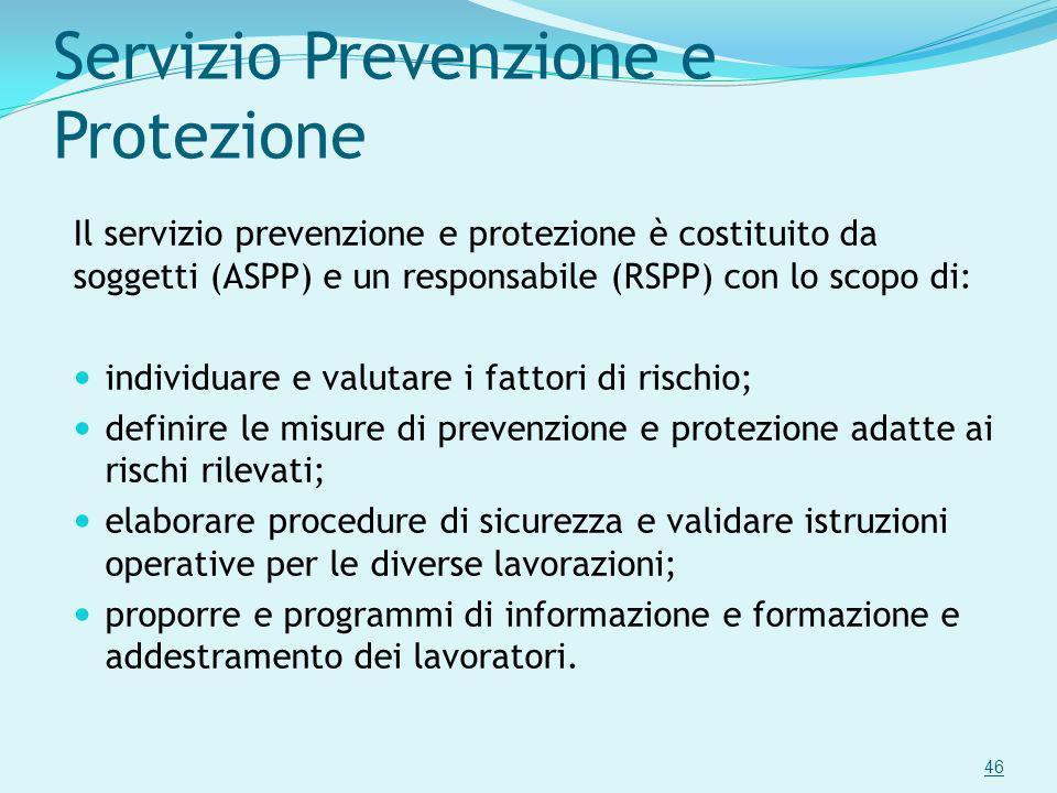 Servizio Prevenzione e Protezione Il servizio prevenzione e protezione è costituito da soggetti (ASPP) e un responsabile (RSPP) con lo scopo di: indiv