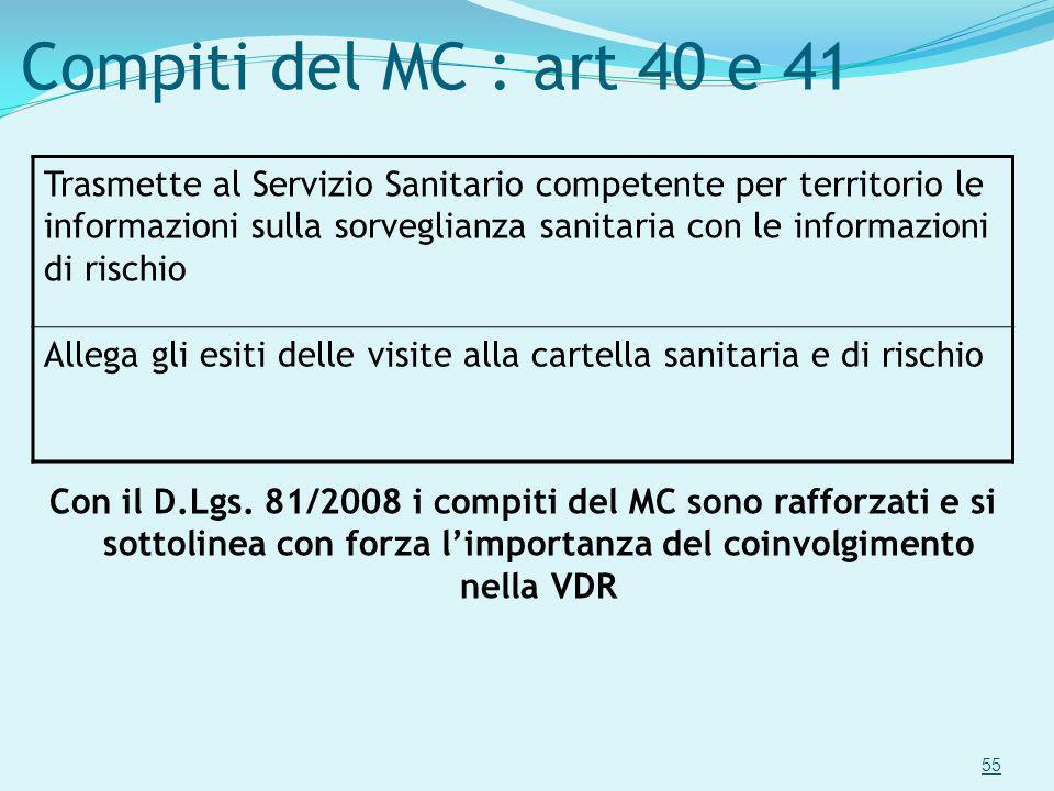 55 Compiti del MC : art 40 e 41 Trasmette al Servizio Sanitario competente per territorio le informazioni sulla sorveglianza sanitaria con le informaz