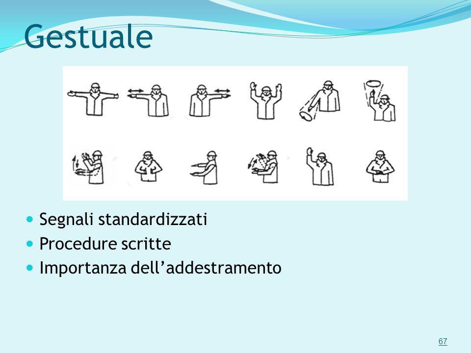 Gestuale Segnali standardizzati Procedure scritte Importanza delladdestramento 67