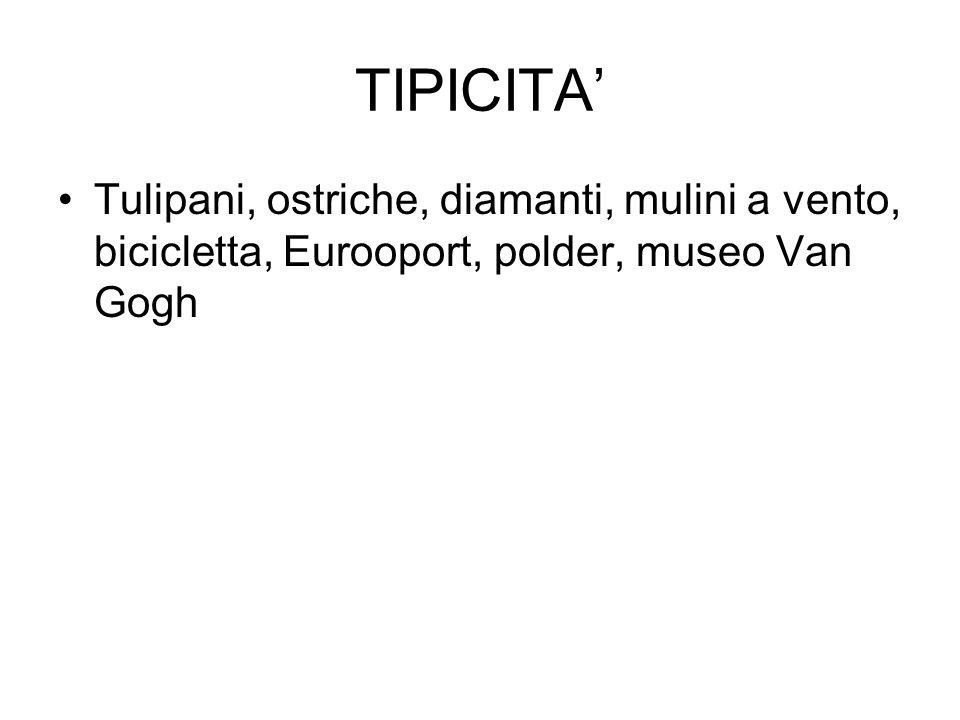 TIPICITA Tulipani, ostriche, diamanti, mulini a vento, bicicletta, Eurooport, polder, museo Van Gogh
