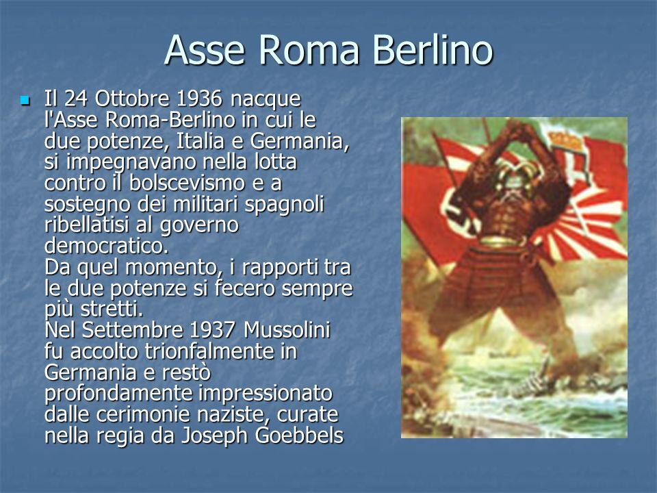 Asse Roma Berlino Il 24 Ottobre 1936 nacque l'Asse Roma-Berlino in cui le due potenze, Italia e Germania, si impegnavano nella lotta contro il bolscev