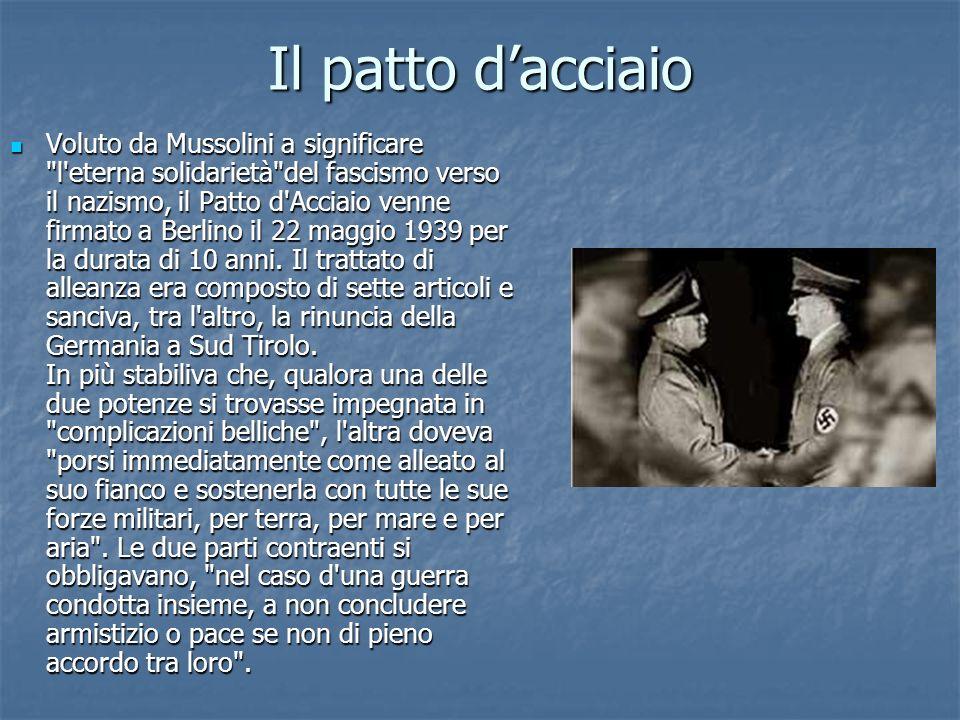 Il patto dacciaio Voluto da Mussolini a significare