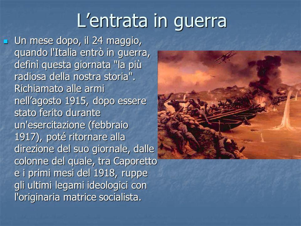 Fondazione fasci da combattimento Finita la guerra Mussolini il 23 marzo 1919 fondò i fasci di combattimento.