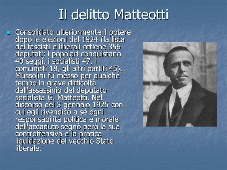 Il delitto Matteotti Consolidato ulteriormente il potere dopo le elezioni del 1924 (la lista dei fascisti e liberali ottiene 356 deputati; i popolari