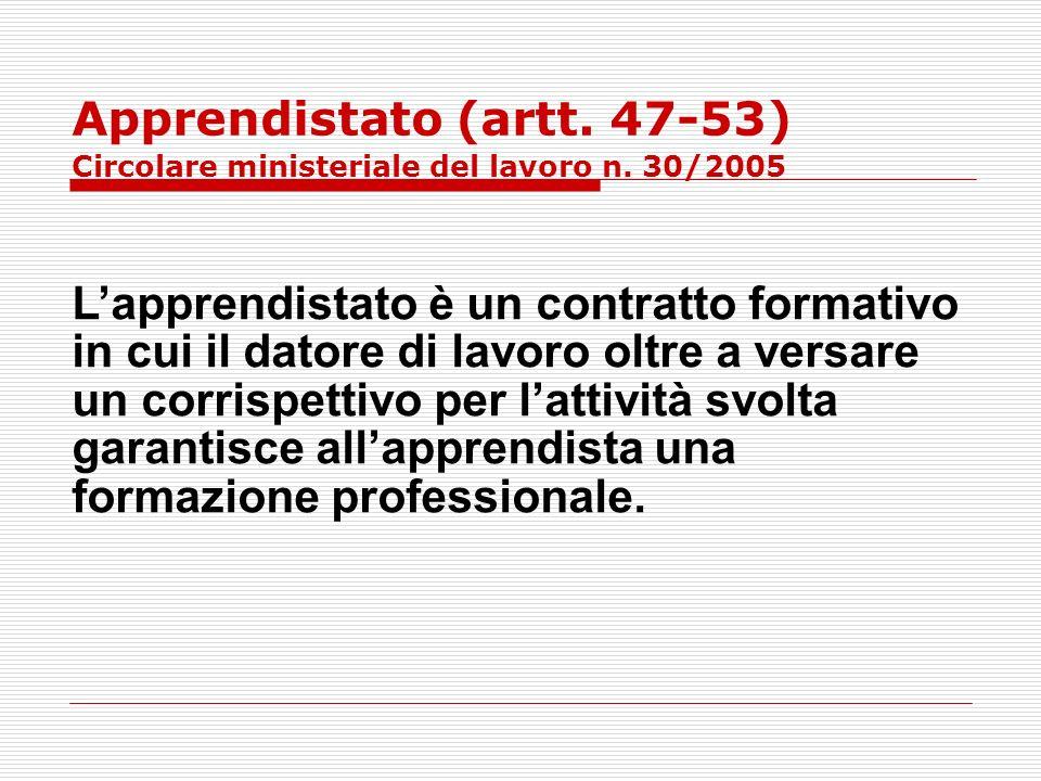 Apprendistato (artt. 47-53) Circolare ministeriale del lavoro n. 30/2005 Lapprendistato è un contratto formativo in cui il datore di lavoro oltre a ve