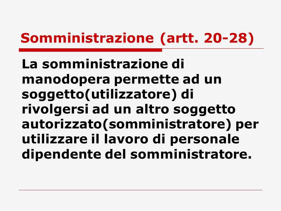 Somministrazione (artt. 20-28) La somministrazione di manodopera permette ad un soggetto(utilizzatore) di rivolgersi ad un altro soggetto autorizzato(