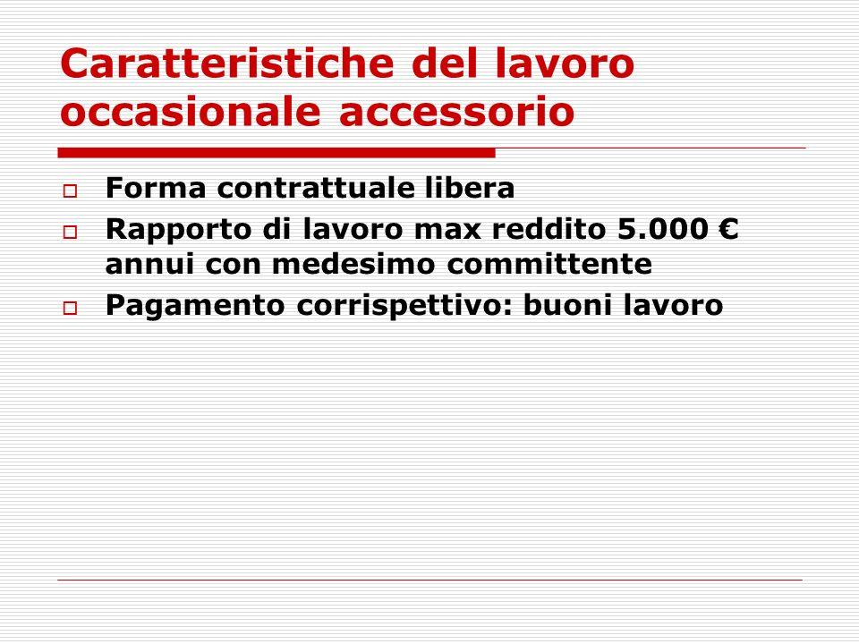 Caratteristiche del lavoro occasionale accessorio Forma contrattuale libera Rapporto di lavoro max reddito 5.000 annui con medesimo committente Pagame