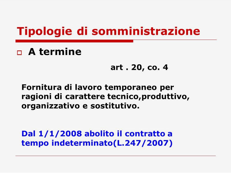 Tipologie di somministrazione A termine art. 20, co. 4 Fornitura di lavoro temporaneo per ragioni di carattere tecnico,produttivo, organizzativo e sos