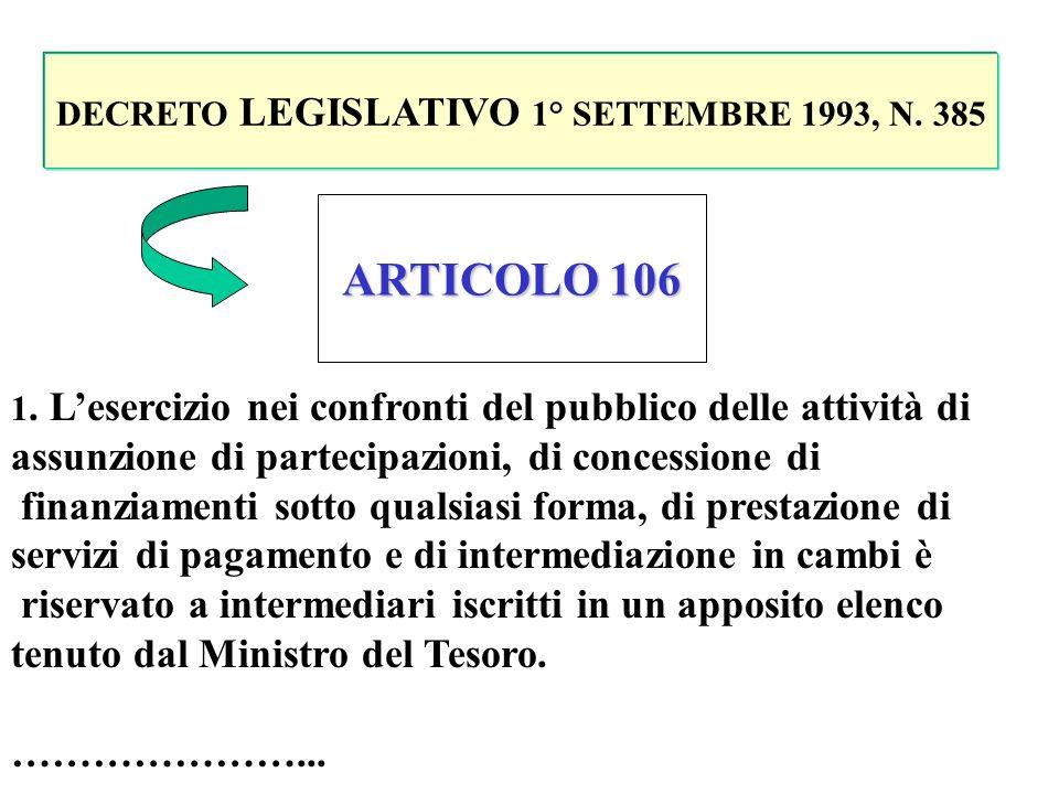 DECRETO LEGISLATIVO 1° SETTEMBRE 1993, N. 385 ARTICOLO 10 1. La raccolta di risparmio tra il pubblico e lesercizio del credito costituiscono lattività