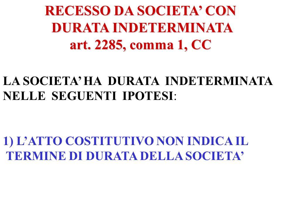 FATTISPECIE DI RECESSO ART. 2285 C.C. COMMA 1 NEI CASI IN CUI LA SOCIETA E COSTITUITA A TEMPO INDETERMINATO COMMA 2 GIUSTA CAUSA