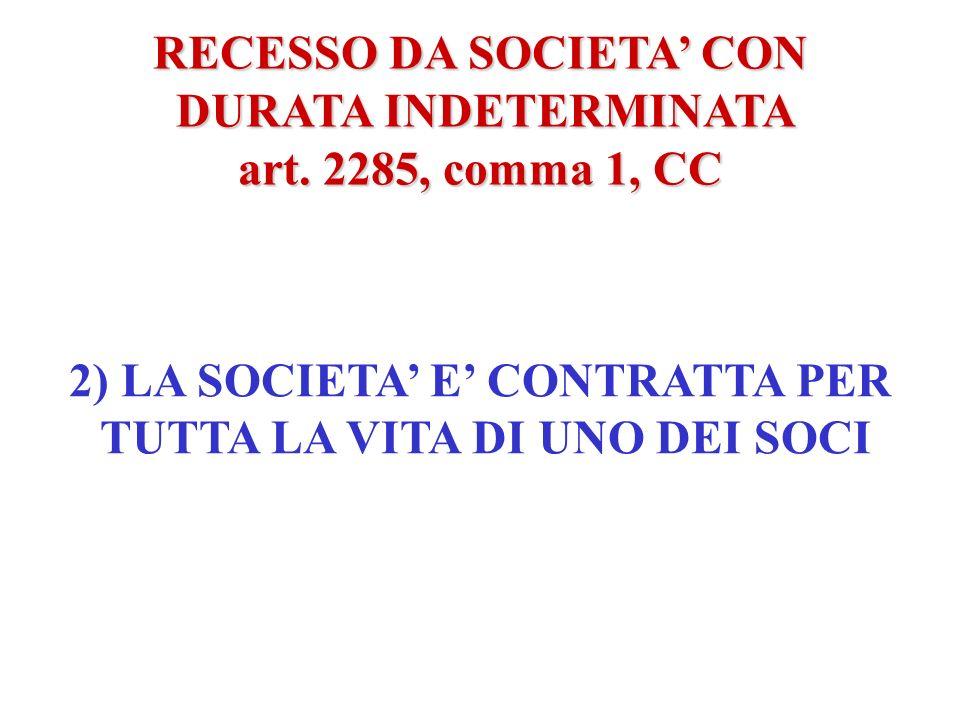RECESSO DA SOCIETA CON DURATA INDETERMINATA DURATA INDETERMINATA art. 2285, comma 1, CC LA SOCIETA HA DURATA INDETERMINATA NELLE SEGUENTI IPOTESI: 1)