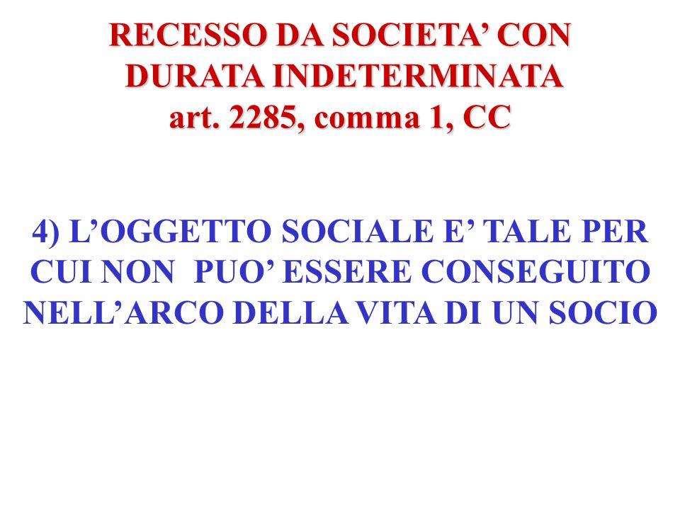 RECESSO DA SOCIETA CON DURATA INDETERMINATA DURATA INDETERMINATA art. 2285, comma 1, CC 3) IL TERMINE INDICATO SUPERA LA DURATA DELLA VITA DI UNO DEI