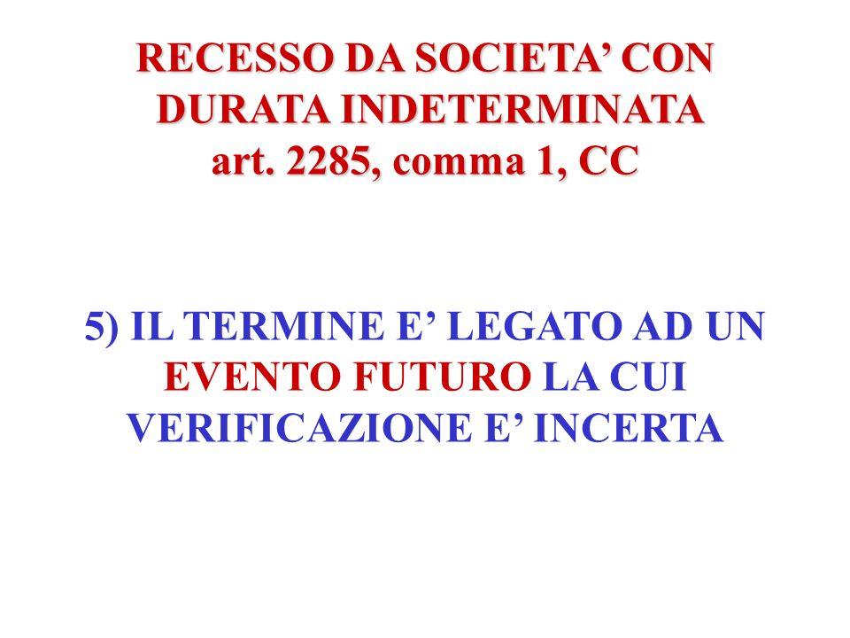 RECESSO DA SOCIETA CON DURATA INDETERMINATA DURATA INDETERMINATA art. 2285, comma 1, CC 4) LOGGETTO SOCIALE E TALE PER CUI NON PUO ESSERE CONSEGUITO N