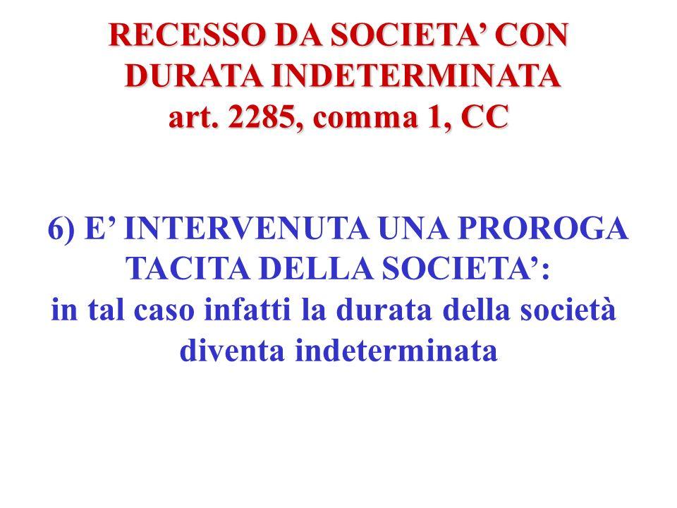 RECESSO DA SOCIETA CON DURATA INDETERMINATA DURATA INDETERMINATA art. 2285, comma 1, CC 5) IL TERMINE E LEGATO AD UN EVENTO FUTURO LA CUI VERIFICAZION