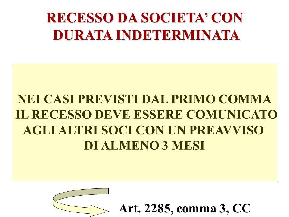 RECESSO DA SOCIETA CON DURATA INDETERMINATA DURATA INDETERMINATA art. 2285, comma 1, CC 6) E INTERVENUTA UNA PROROGA TACITA DELLA SOCIETA: in tal caso