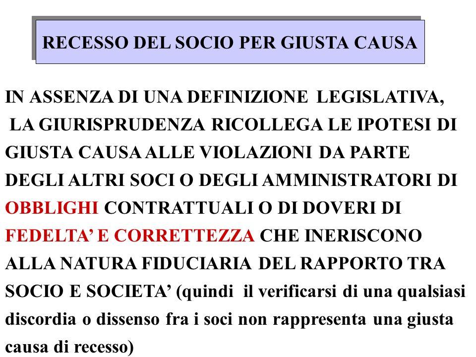 RECESSO DA SOCIETA CON DURATA INDETERMINATA art. 2285, comma 2, CC GIUSTA CAUSA