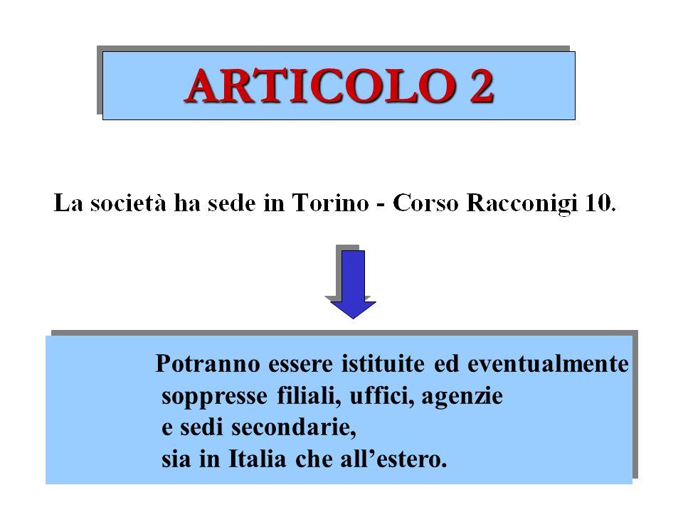 ARTICOLO 2 Potranno essere istituite ed eventualmente soppresse filiali, uffici, agenzie e sedi secondarie, sia in Italia che allestero.