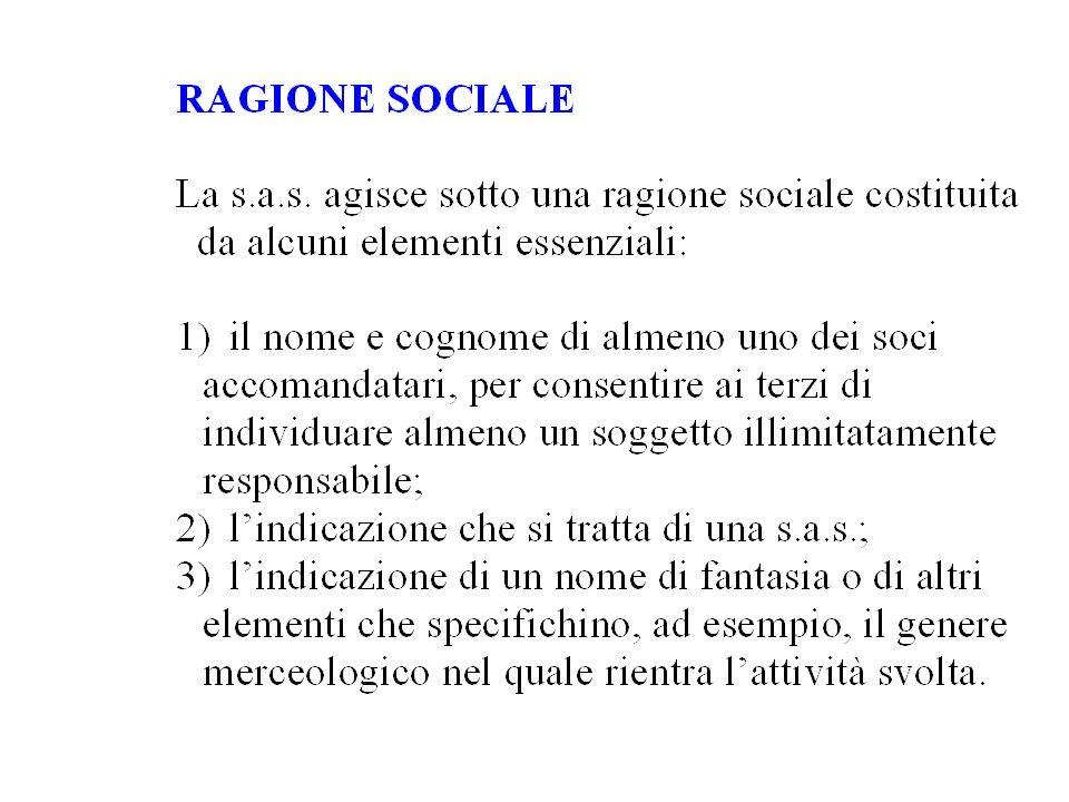 ARTICOLO 1 Tra i signori Mario ROSSI e Michele VERDI è costituita una società in accomandita semplice sotto la ragione sociale
