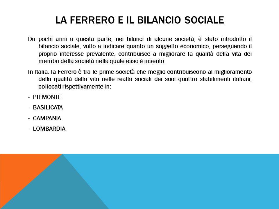 LA FERRERO E IL BILANCIO SOCIALE Da pochi anni a questa parte, nei bilanci di alcune società, è stato introdotto il bilancio sociale, volto a indicare