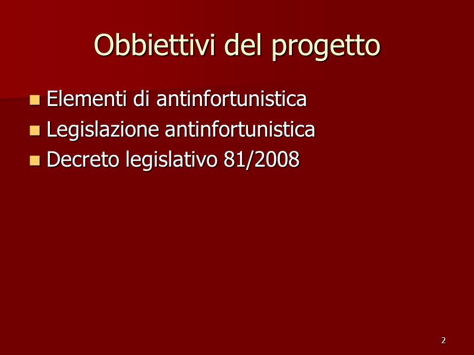2 Obbiettivi del progetto Elementi di antinfortunistica Legislazione antinfortunistica Decreto legislativo 81/2008