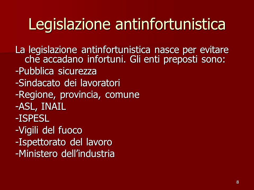 8 Legislazione antinfortunistica La legislazione antinfortunistica nasce per evitare che accadano infortuni. Gli enti preposti sono: -Pubblica sicurez