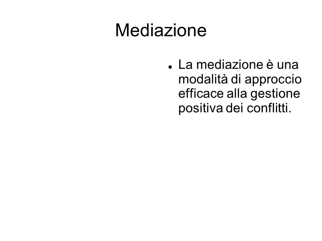 Mediazione La mediazione è una modalità di approccio efficace alla gestione positiva dei conflitti.