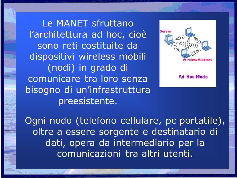 Le MANET sfruttano larchitettura ad hoc, cioè sono reti costituite da dispositivi wireless mobili (nodi) in grado di comunicare tra loro senza bisogno di uninfrastruttura preesistente.