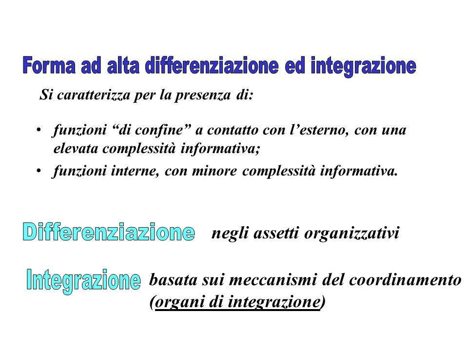 funzioni di confine a contatto con lesterno, con una elevata complessità informativa; funzioni interne, con minore complessità informativa. Si caratte