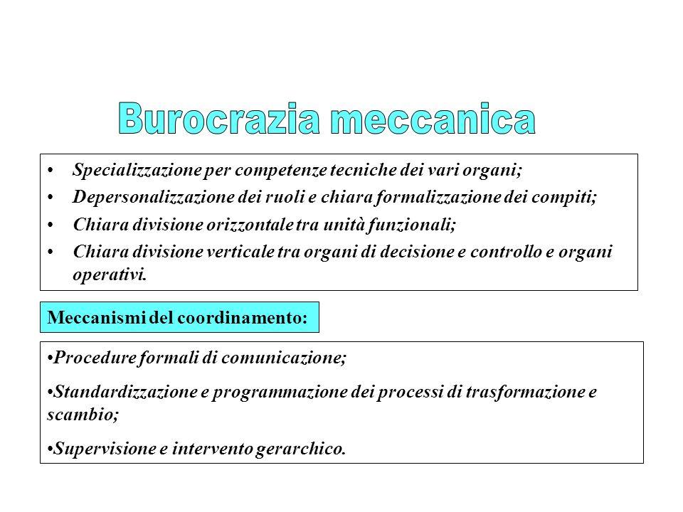 Specializzazione per competenze tecniche dei vari organi; Depersonalizzazione dei ruoli e chiara formalizzazione dei compiti; Chiara divisione orizzon