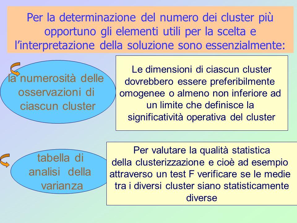 Per la determinazione del numero dei cluster più opportuno gli elementi utili per la scelta e linterpretazione della soluzione sono essenzialmente: ta
