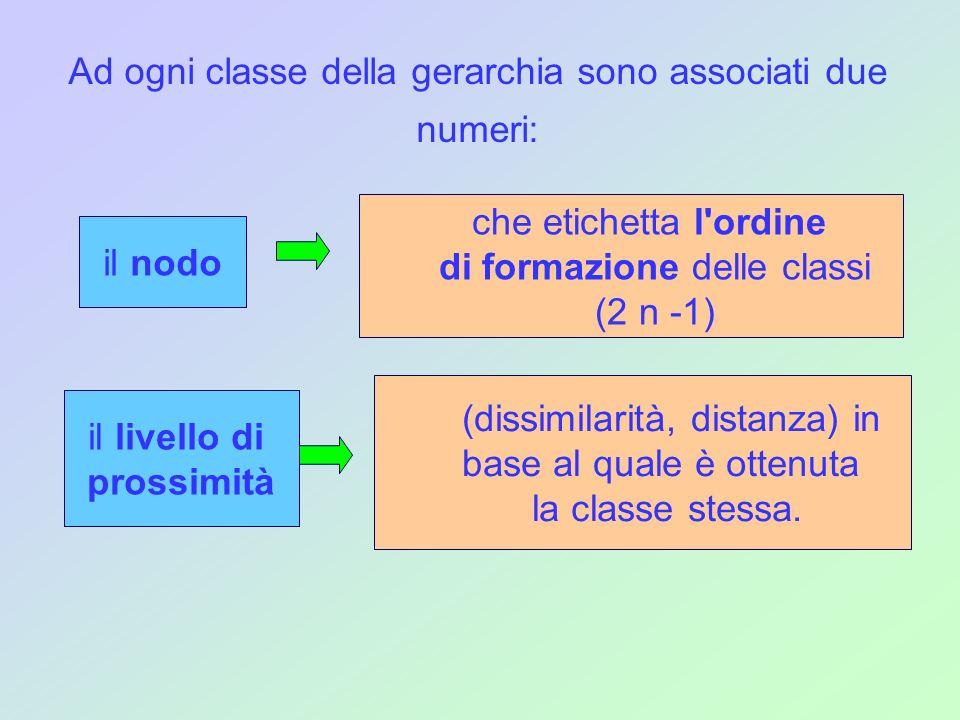 Ad ogni classe della gerarchia sono associati due numeri: il nodo che etichetta l'ordine di formazione delle classi (2 n -1) il livello di prossimità