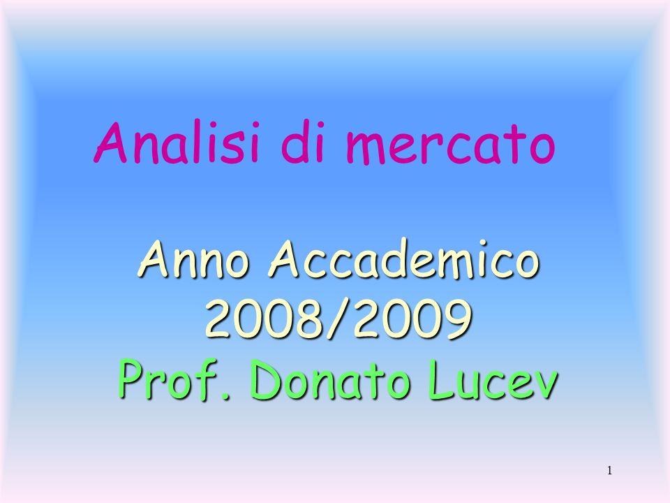 1 Analisi di mercato Anno Accademico 2008/2009 Prof. Donato Lucev