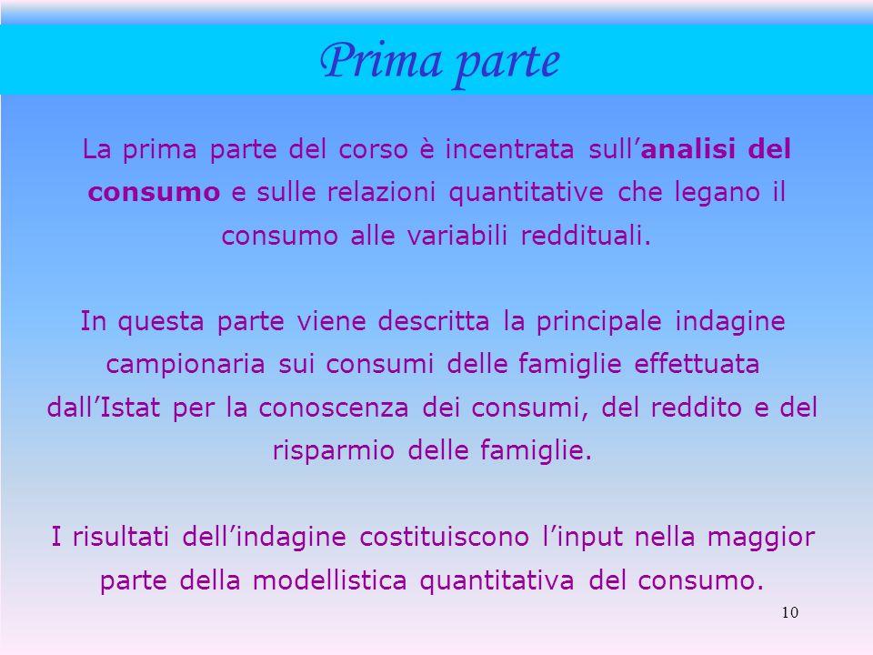 10 Prima parte La prima parte del corso è incentrata sullanalisi del consumo e sulle relazioni quantitative che legano il consumo alle variabili reddi