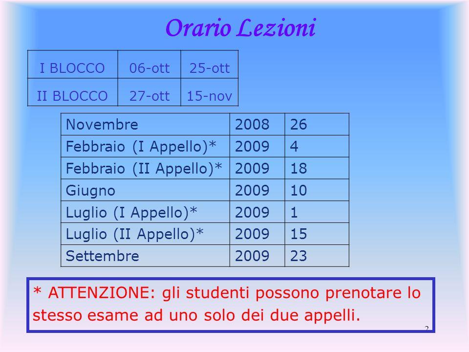 2 Orario Lezioni I BLOCCO06-ott25-ott II BLOCCO27-ott15-nov Novembre200826 Febbraio (I Appello)*20094 Febbraio (II Appello)*200918 Giugno200910 Luglio