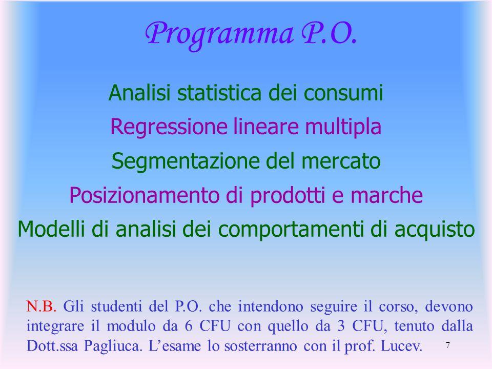 7 Programma P.O. Analisi statistica dei consumi Regressione lineare multipla Segmentazione del mercato Posizionamento di prodotti e marche Modelli di
