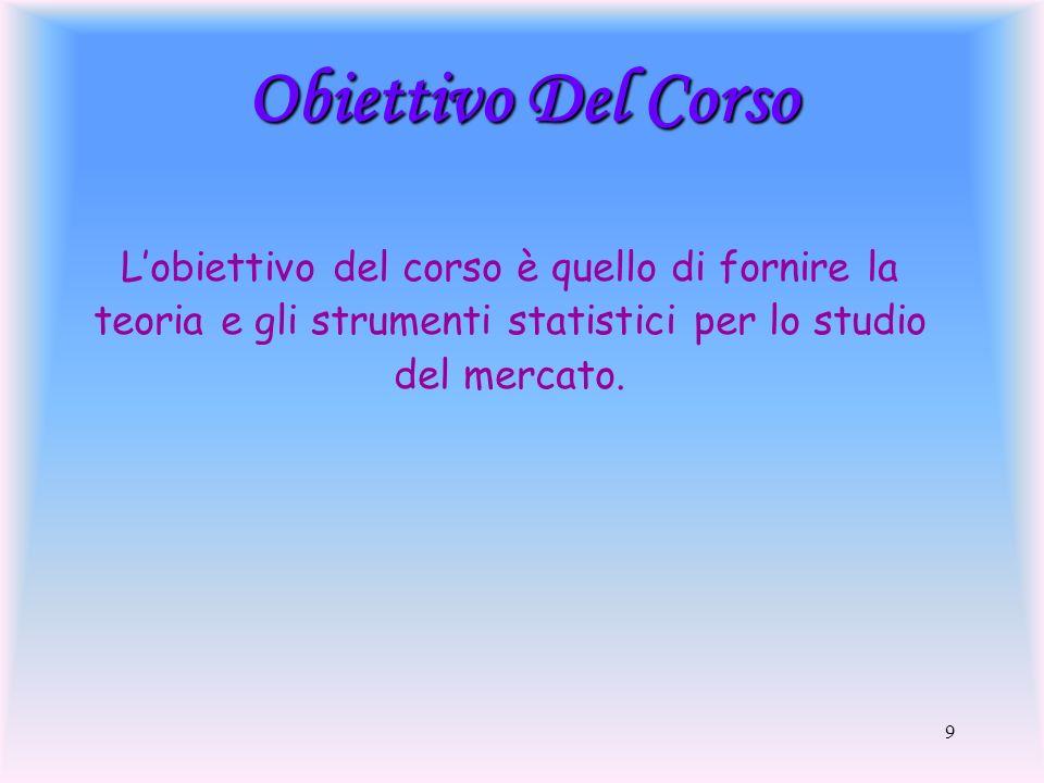 9 Obiettivo Del Corso Lobiettivo del corso è quello di fornire la teoria e gli strumenti statistici per lo studio del mercato.