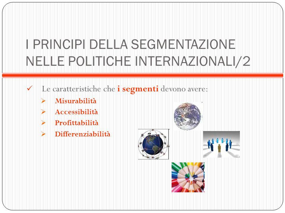 I PRINCIPI DELLA SEGMENTAZIONE NELLE POLITICHE INTERNAZIONALI/2 Le caratteristiche che i segmenti devono avere: Misurabilità Accessibilità Profittabil