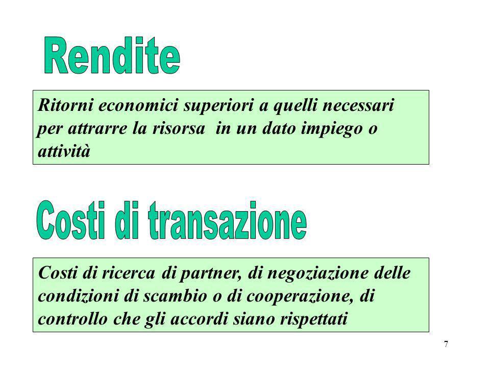 8 Conseguenze organizzative di base dellinsostituibilità Differenziazione degli output e specificità delle risorse Divisione negoziata delle rendite Monopoli naturali e rapporto tra dimensioni del mercato e dellimpresa Regolazione