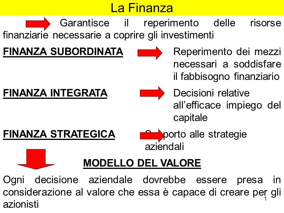 1 La Finanza Garantisce il reperimento delle risorse finanziarie necessarie a coprire gli investimenti FINANZA SUBORDINATA Reperimento dei mezzi neces